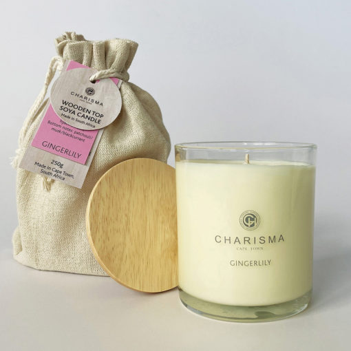 Wooden Top Ginger Lilly Soy Candle