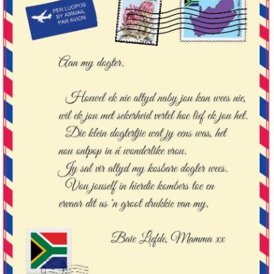 Afrikaans Mail Letter Blanket - Aan my Dogter van Mamma
