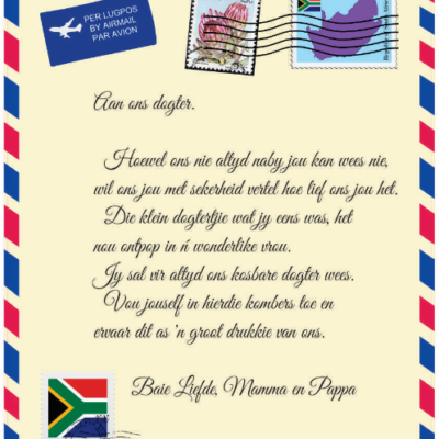 Afrikaans Mail Letter Blanket - Aan ons Dogter van Mamma en Pappa