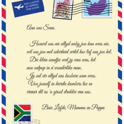 Afrikaans Mail Letter Blanket - Aan ons Seun van Mamma en Pappa